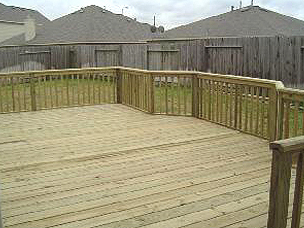 custom deck with railing